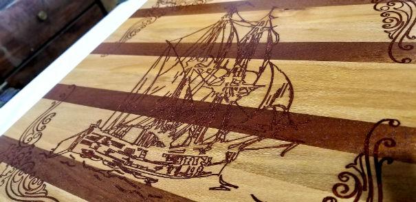 Sailing ship cutting board