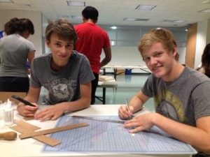 Students Working on Green Building Design Plans