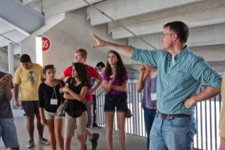 Students touring Stadium during Green Building Design Camp