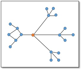 Example of a network with a gateway node in orange.