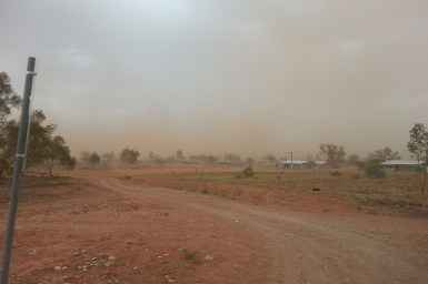 Dust storm in a rural Australian setting.