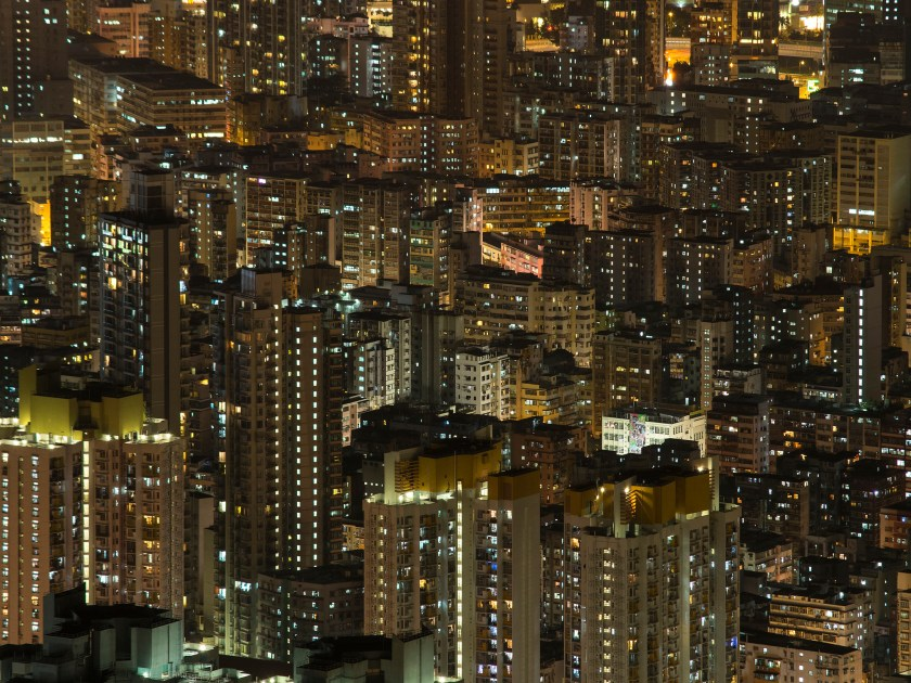 Dense city skyscrapers at night