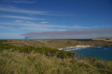 smoke plumes in the distance with a tussocky peninsula in foreground