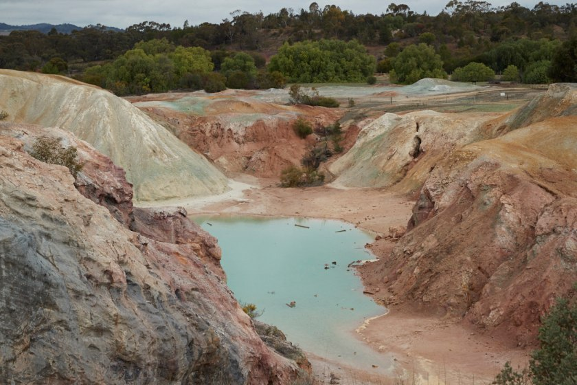 A mine with blue liquid.