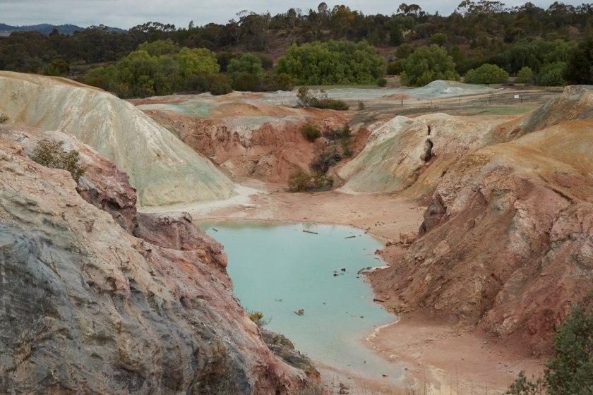 A mine with blue liquid.
