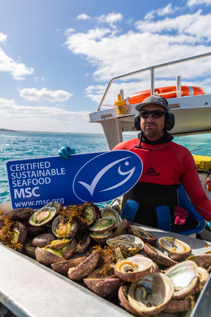 Abolone fisher holds MSC sign above crate of catch