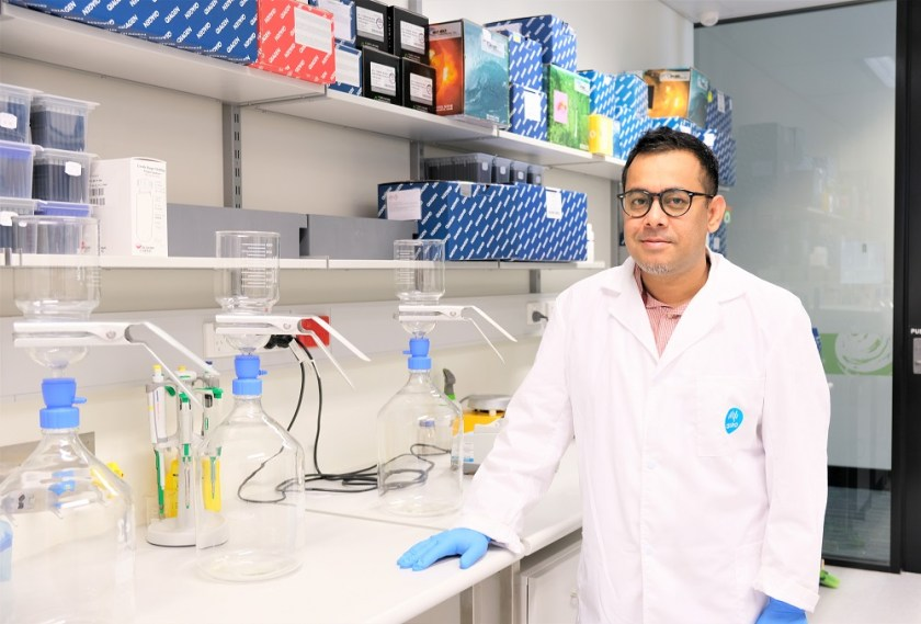 Researcher Dr Warish Ahmed in the CSIRO laboratory