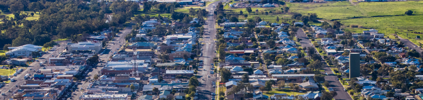 Aerial picture of Narrabri. Regional centres like Narrabri offer an attractive alternative to living in a major city.