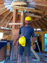 It might be funny, but we take safety seriously. The Chicher residence in Saanich was almost a complete rebuild of a double 20 sided wooden yurt with two complete roof system replacements, earthen floor, replaced wall sections… this job sold me on circular roofs.