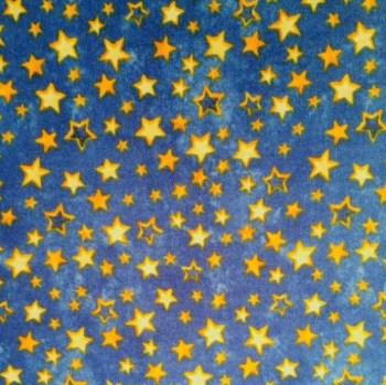 tela patchwork mascarillas estrellas azul dorado