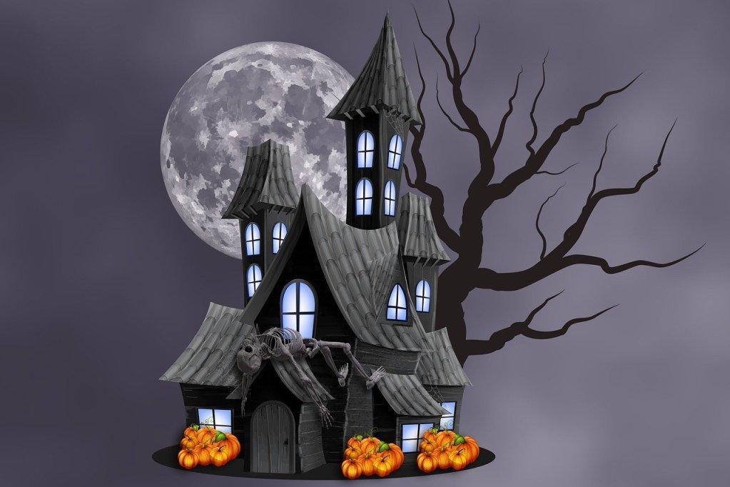 halloween, haunted house, moon
