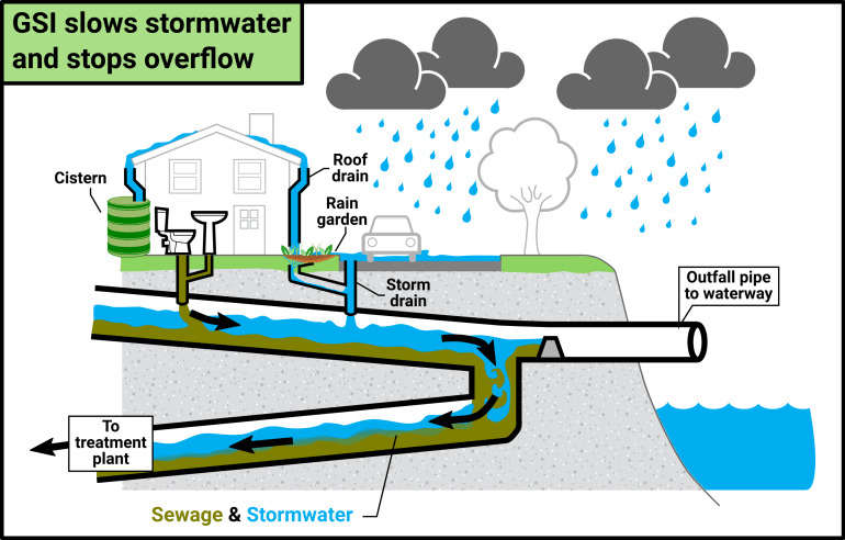 Graphic detailing the route of combined sewage during heavy storms controlled by Green Stormwater Infrastructure (GSI).