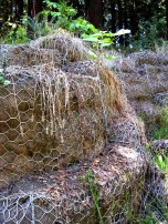 (37.875,-122.24) These are called stone gabions. Essentially they are large metal-mesh sacks filled with rocks. They stabilize the creek bank.
