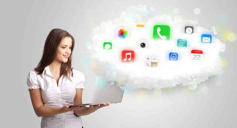 oung woman presenting cloud with colorful app icons and symbols