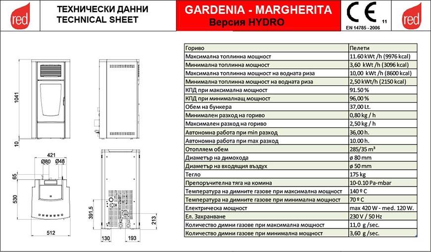 GreenEco Therm™ Пелетна камина с водна риза GARDENIA Hydro Technical date