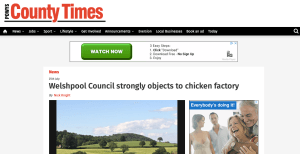 County Times - Welshpool Council strongly objects to chicken factory