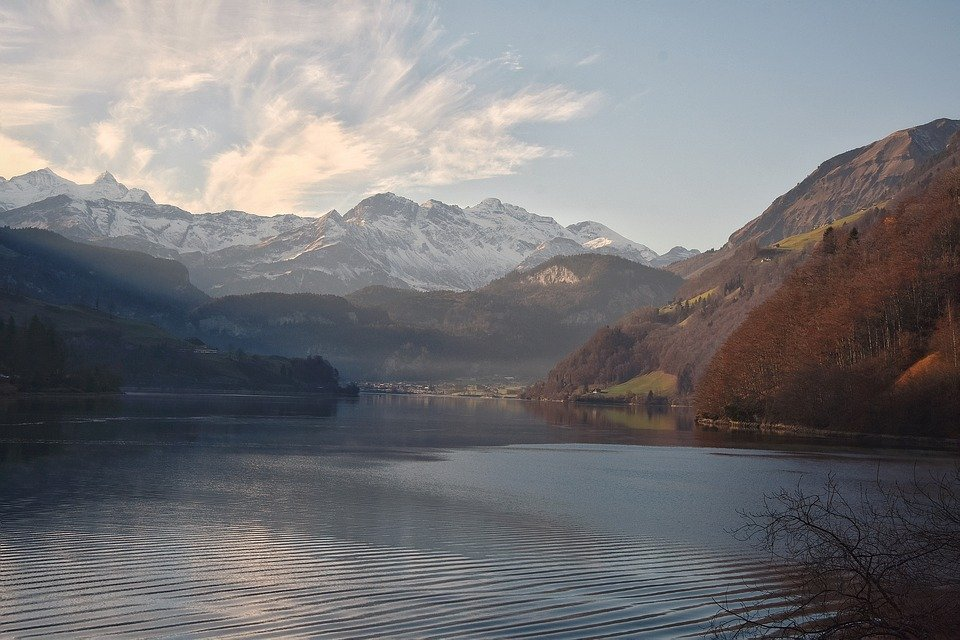 scenery of lake and mountains