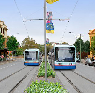 An artist's impression of light rail on Oxford St
