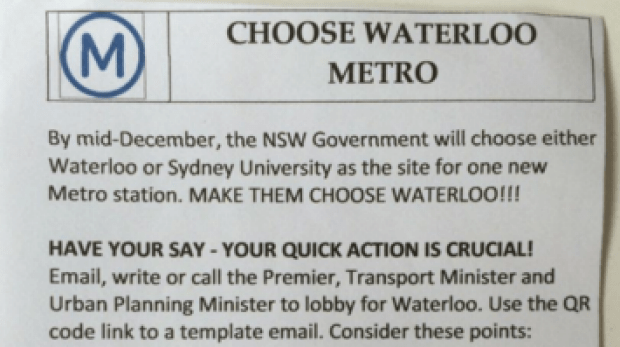 A mystery leaflet spruiking the Waterloo station option.