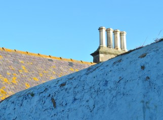 rooves chimney pots blue winter sky eyemouth