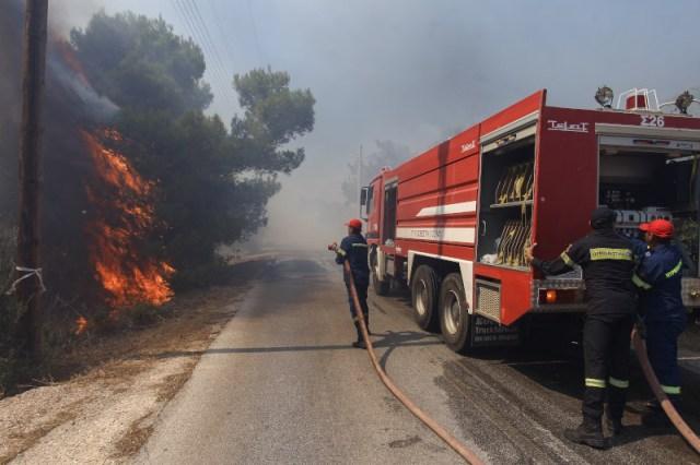 Πυροσβέστες επιχειρούν στη φωτιά στη Ραφήνα / Φωτογραφία: EUROKINISSI/ΘΑΝΑΣΗΣ ΔΗΜΟΠΟΥΛΟΣ Πηγή: iefimerida.gr - https://www.iefimerida.gr/ellada/fotia-stin-artemida-ekkenonontai-oikismoi