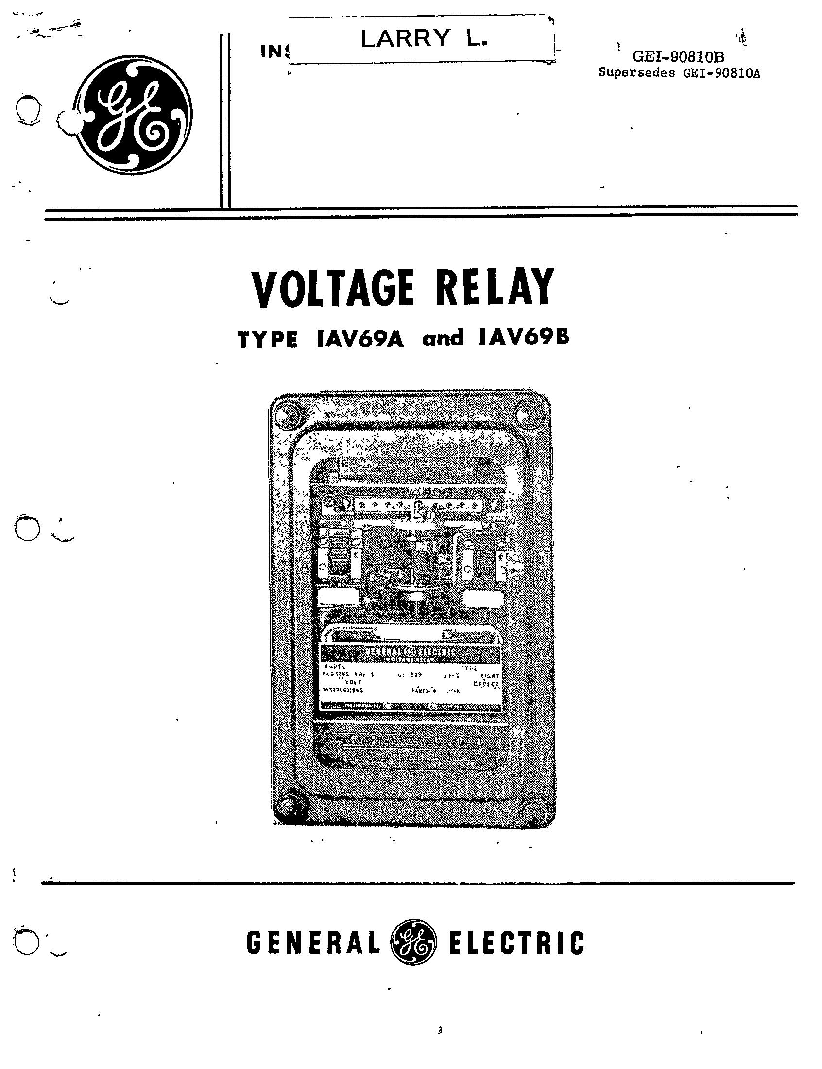 Gei B Voltage Relay Type Iav69a And Iav69b Manual