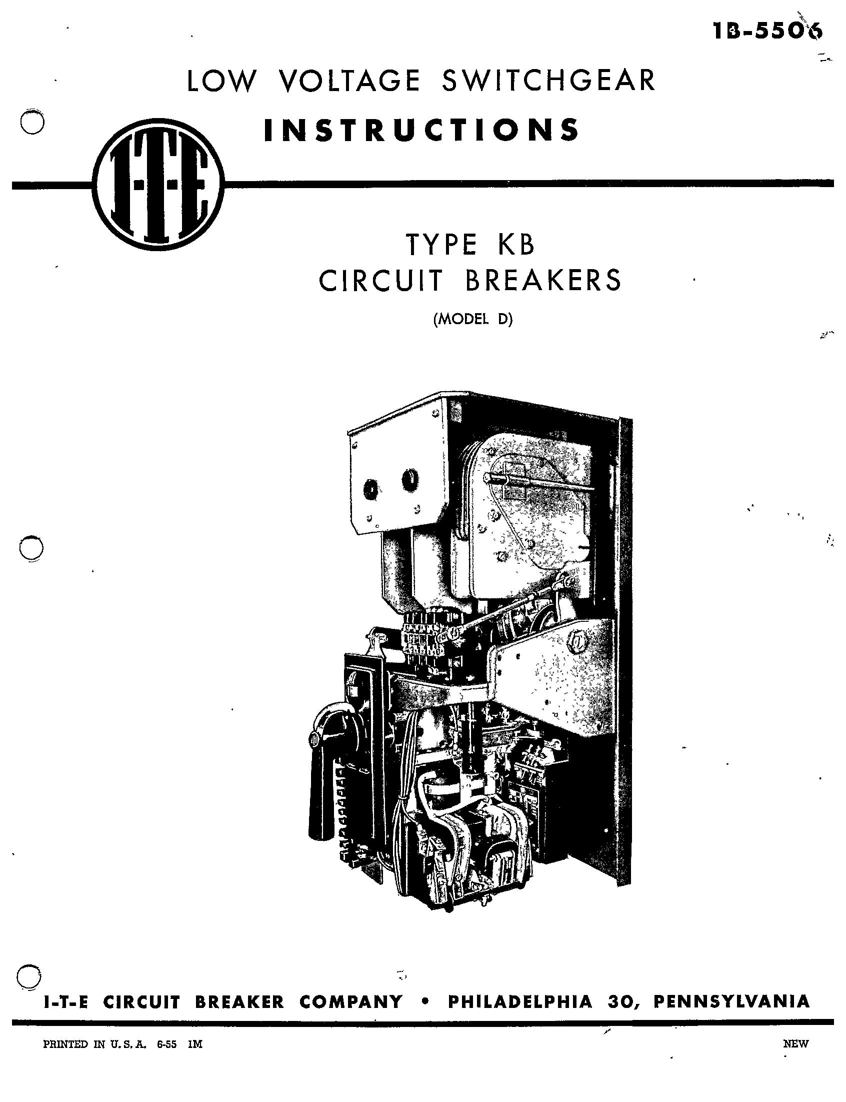 1b Type Kb Circuit Breakers Model D Manual I T E