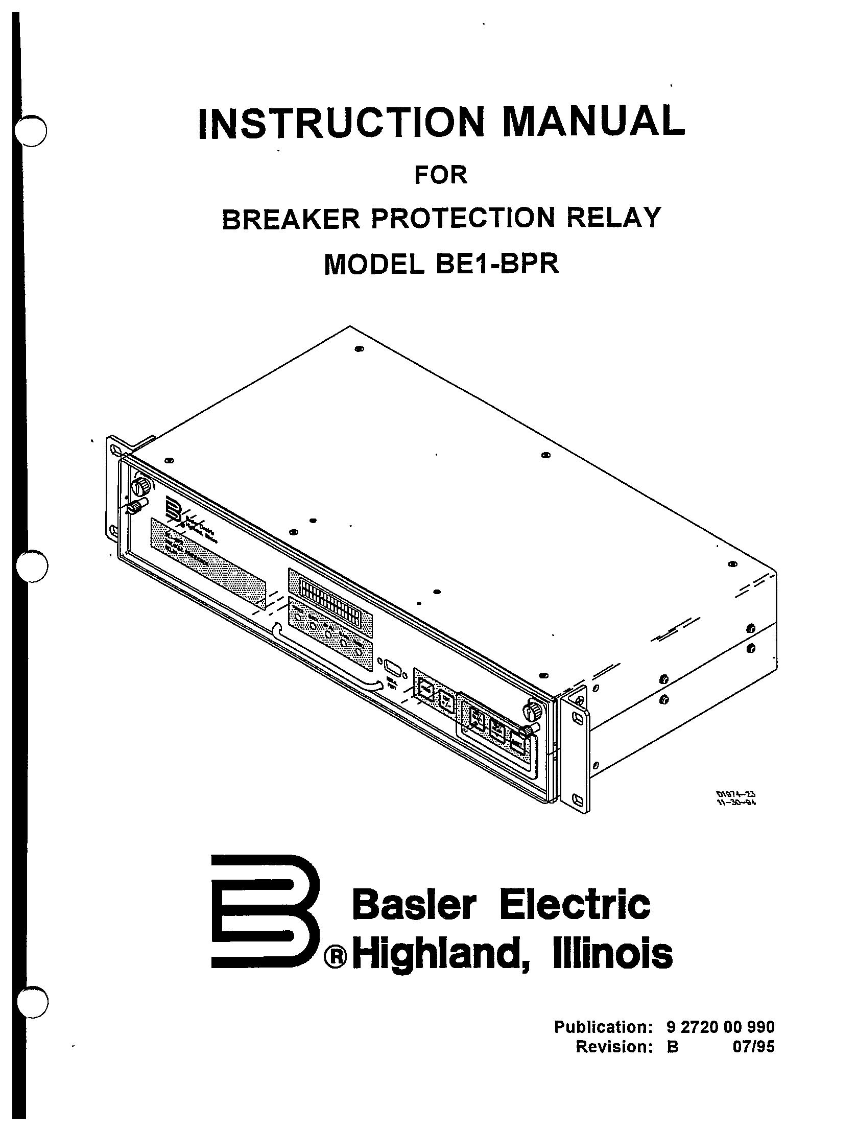 Breaker Protection Relay Model Be1 Bpr Revision B Manual