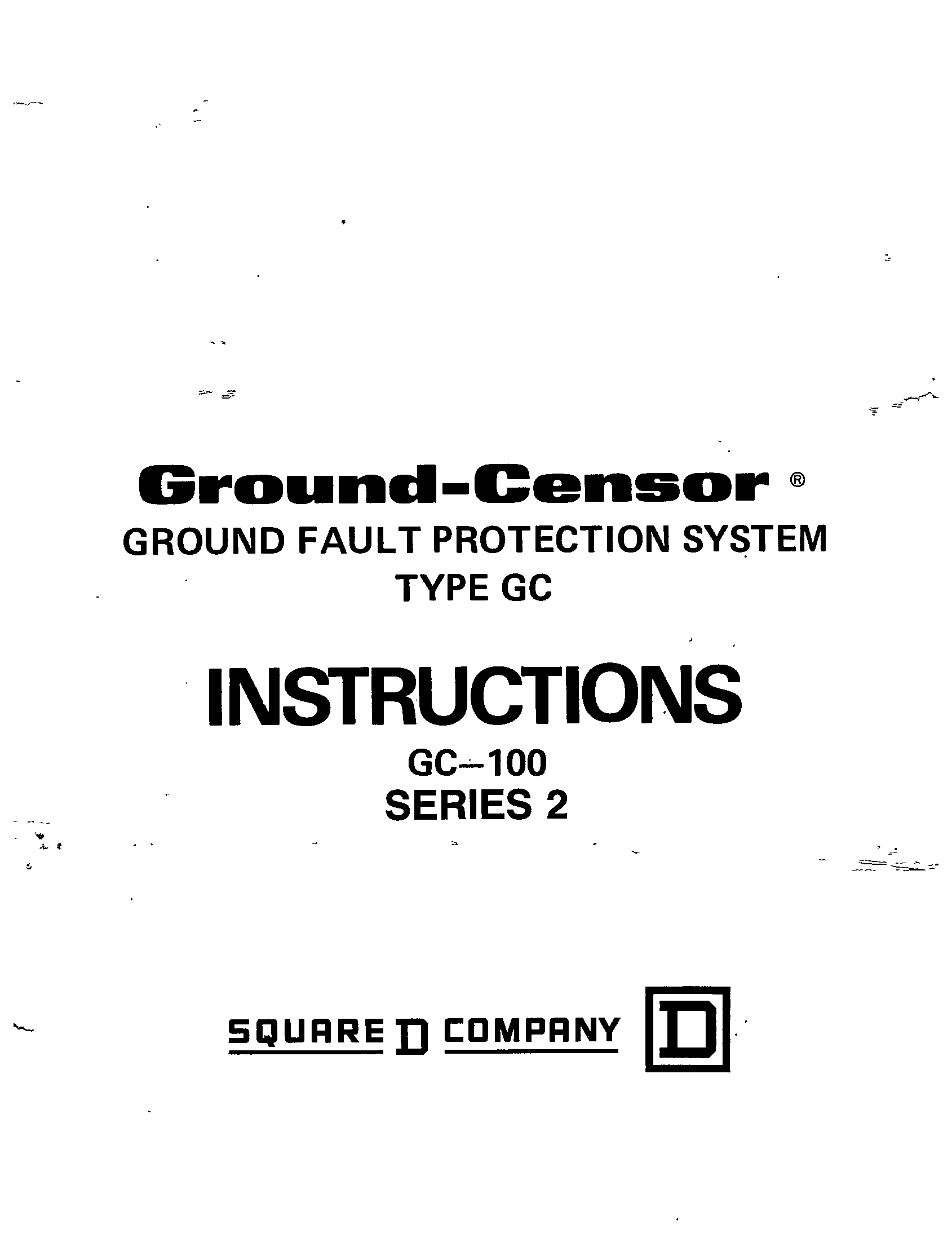 Ground Censor Ground Fault Protection System Type Gc 100