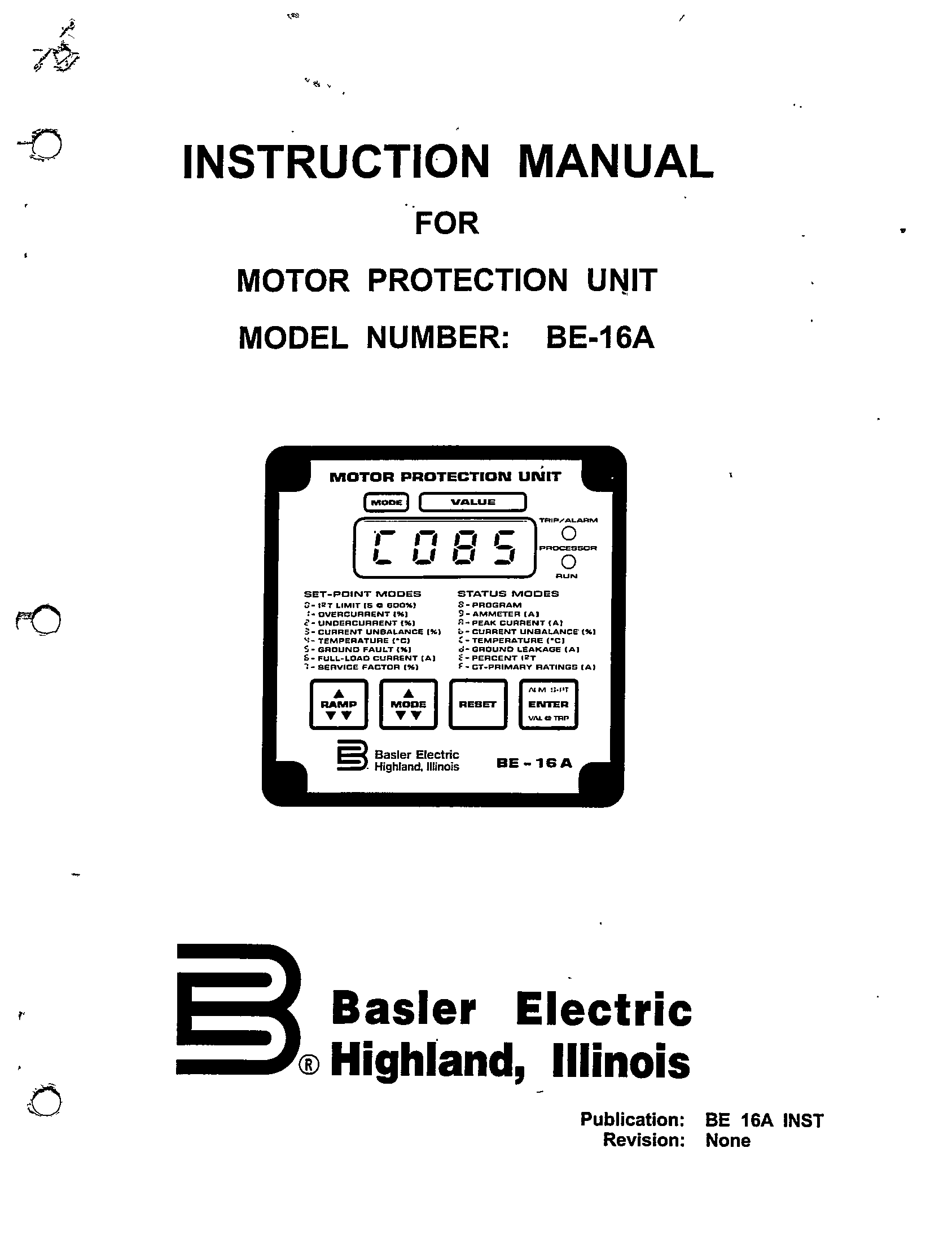 Motor Protection Unit Model Number Be 16a Manual