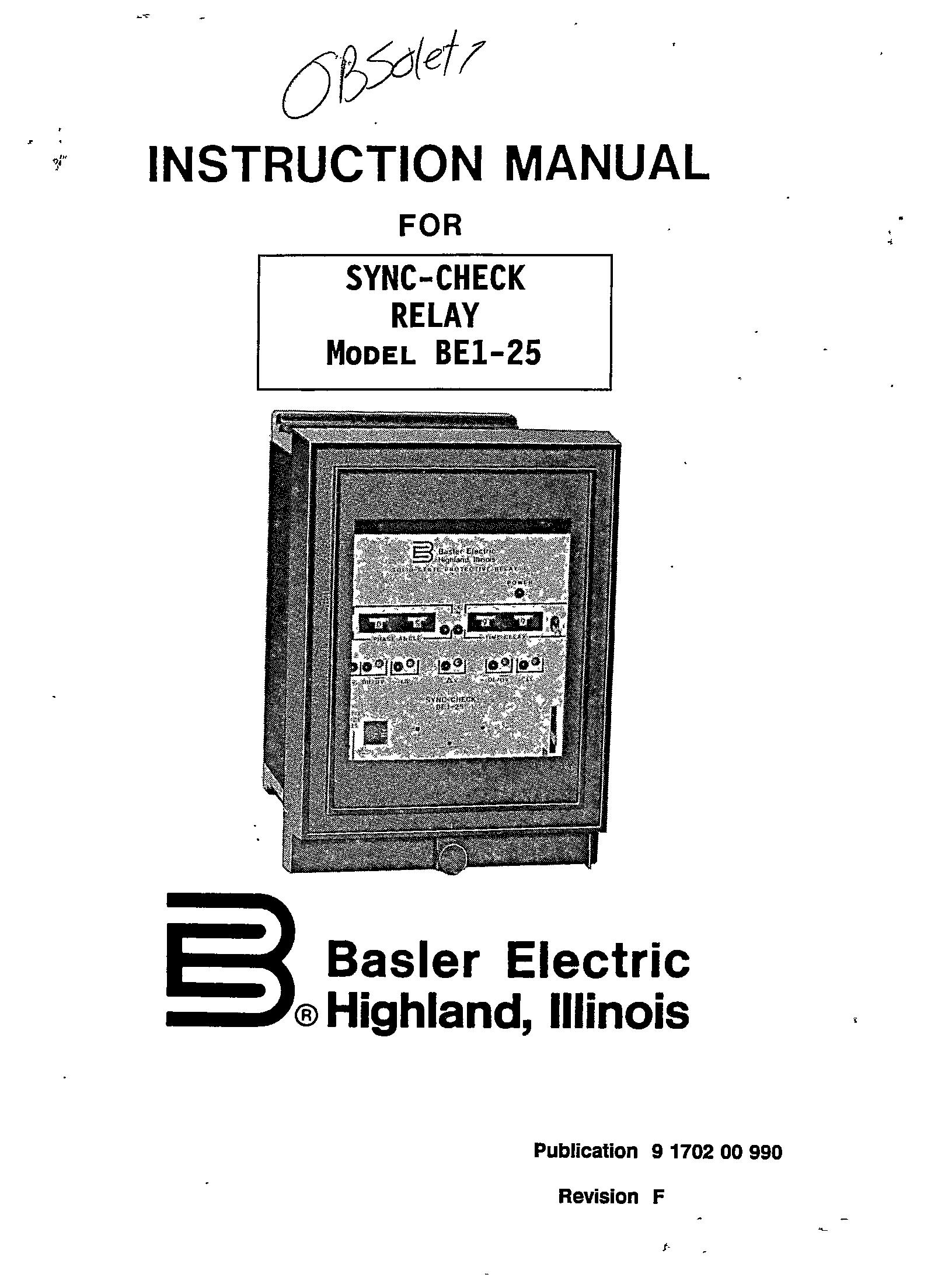 Sync Check Relay Model Be1 25 Manual