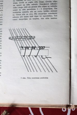 A diagram in Laima's book shows how to set up the heddle.