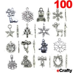 eCrafty.com SKU 1162 Christmas Holiday Charms 100pack Mega Mix! So many options! So many little gift DIY ideas!