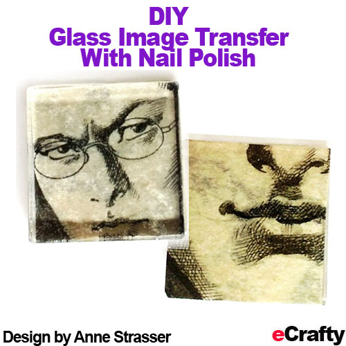 These images were transferred onto our glass tiles with nail polish and rubbing alcohol. You can create multi layers with this technique too! Read our blog post for the recipe and visit us at www.eCrafty.com for glass tiles, sealers, craft supplies!