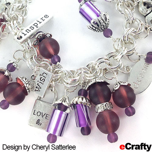 DIY Cane Glass, Sea Glass & Message Charm Bracelet Recipe from eCrafty.com SKU 1197B premade chain maille bracelet in bright silver SKU 1151-10-Message Message Charms Mega Mix (100+ metal charms) SKU 1411K Cane Glass Fire Designs Purple 10pc pack SKU 1298C Sea Glass Beads, 6mm, 4mm, in Urchin Purple SKU 1155 Bali Style Metal spacers, 100 pack SKU 1153 Bali Style Metal Bead Caps, 100 pack, or choose any of our 20pc bead cap packs