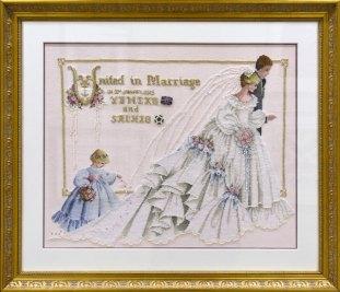 Yumeko's Wedding 娘のリクエストで、結婚式のウェルカムボードとして作りました。 刺しているうちにウェディングらしくと、リネンの色を淡いピンクにしたり、ビーズをドレスの裾、襟、ブーケ、ヴェール いたる所に付けたり、エフェクト糸を重ね刺ししたりと、かなり盛り込んでしまいました。 作品の雰囲気的には少し疑問ですが、花嫁花婿の希望でそれぞれにゆかりのあるチャームも添えました。 L & Lチャート。