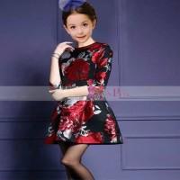 Jual (DRESS ANAK) Korea Pink Dress Mawar Merah. Baru | Baju Gaun / D