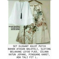 stelan baju muslim hijab tunik blouse putih polos celana kulot vintage