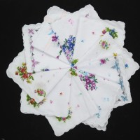 sapu tangan handkerchief women wanita Napkin vintage Cotton Flowers
