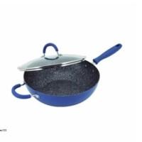 Maxim Granito Wok Wajan/Penggorengan Teflon + Glass Cover 30cm - Biru