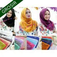 GROSIR 10pcs Hijab Jilbab Segi Empat Nazwa Rawis Double Hycon