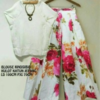 xl jumbo bigsize setelan baju kaos blouse putih celana panjang kulot