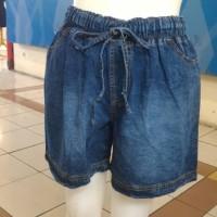 Hotpants Celana pendek jeans wanita cewe pinggang karet fashion import