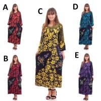 DPC312 Long Dress Santung Motif Cantik Baju Tidur Wanita Murah Grosir