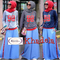 setelan baju kaos blouse atasan muslim hijab celana kulot panjang