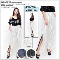 Slit Pants Celana Panjang Kulot Garis Wanita Import Hitam Putih Black