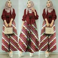 Setelan Atasan / Blouse dan Celana Kulot Batik Wanita Model 01 HMOF