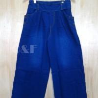 (Dijamin) Celana Kulot Panjang Denim Jeans Navy