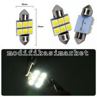 LAMPU KABIN 6 LED PUTIH UNIVERSAL LAMPU PLAFON MOBIL 31MM