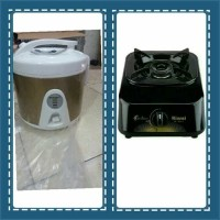 rice cooker national super 1ltr + kompor gas rinnai